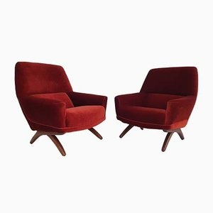 Danish Lounge Chairs by Leif Hansen for Kronen Møbelfabrik, 1960s, Set of 2