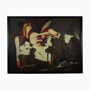 Dipinto ad olio Lady on a Club di Fonferrier, anni '90