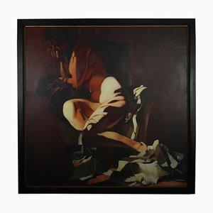 Grande Peinture à l'Huile Lady on a Club Chair par Fonferrier, 1990s