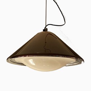 Vintage Lucite & Chrome Pendant Lamp from Guzzini