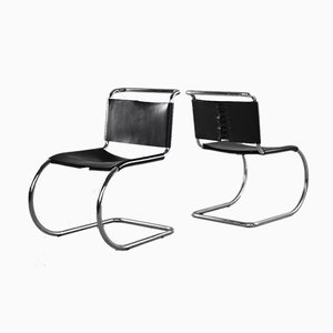 Vintage Leather MR10 Cantilever Dining Chairs by Ludwig Mies van der Rohe for Knoll Inc. / Knoll International, Set of 2