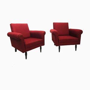 Mid-Century Italian Burgundy Lounge Chairs, 1950s, Set of 2