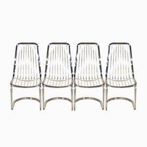 Esszimmerstühle aus verchromtem Stahl von Gastone Rinaldi, 1970er, 4er Set
