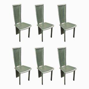 Esszimmerstühle mit Lederbezug von Barilone Maurice für Roche Bobois, 1980er, 6er Set