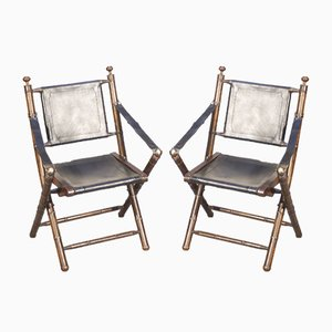 Bamboo & Leather Folding Chairs, 1970s, Set of 2