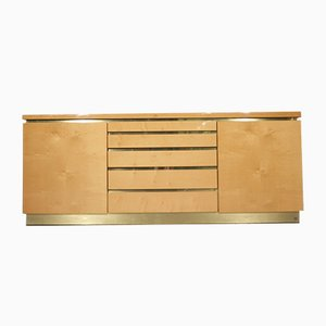 Lacquered Sycamore & Brass Sideboard by Jean Claude Mahey, 1980s