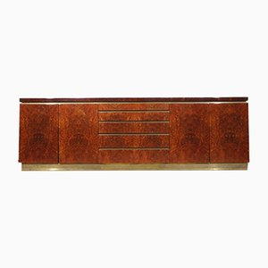 Burr Walnut & Lacquered Brass Sideboard by Jean Claude Mahey for Maison Roméo, 1970s