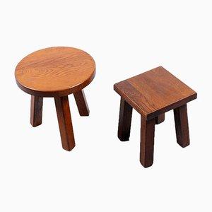 Tavolini in quercia di Charlotte Perriand, anni '50, set di 2