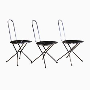Black Perspex and Chrome Folding Chairs by Niels Gammelgaard for Ikea, 1980s, Set of 3
