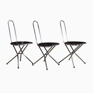 Sedie pieghevoli in perspex nero e metallo cromato di Niels Gammelgaard per Ikea, anni '80, set di 3