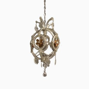 Crystal Chandelier with Murano Flowers, 1950s