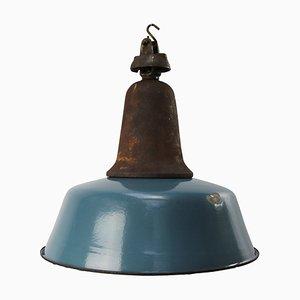 Blau emaillierte industrielle Mid-Century Hängelampe aus Gusseisen