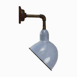 Vintage Industrial Gray and Blue Enamel Cast Iron Sconce, 1950s