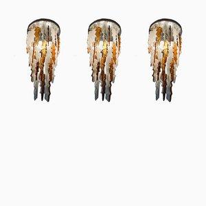 Deckenlampen aus Muranoglas von Mazzega, 1970er, 3er Set