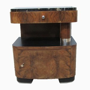 Art Deco Walnut Nightstand, 1920s