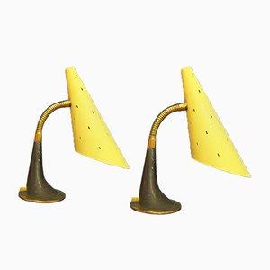 Lampes de Bureau Mid-Century en Métal, années 50, Set de 2