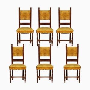 Vintage Nussholz Esszimmerstühle im Renaissance Stil, 1930er, 6er Set