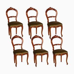 Louis Philippe Esszimmerstühle aus hellem Nussholz mit Schnitzereien, 1940er, 6er Set