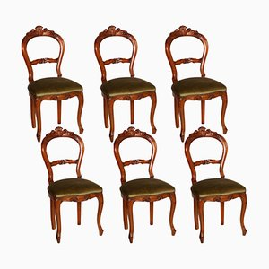 Louis Philippe Style Carved Blond Walnut Dining Chairs, 1940s, Set of 6
