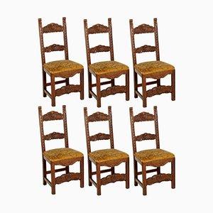Chaises de Salle à Manger Style 19e Siècle en Noyer Sculpté, Set de 6