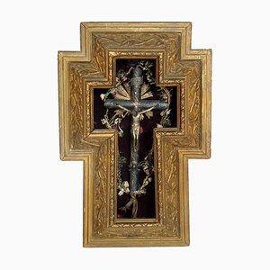 Crucifijo italiano de madera dorada y plata, siglo XVII
