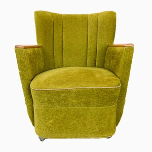 Vintage Green Velvet Cocktail Chair, 1970s