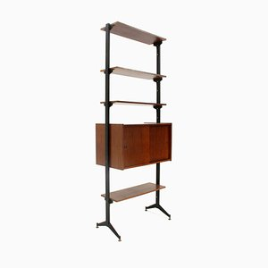 Mid-Century Italian Teak and Black Metal Wall Unit, 1960s