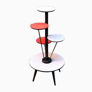 Italian Lacquered Beech, Formica, and Brass Flower Stand, 1960s