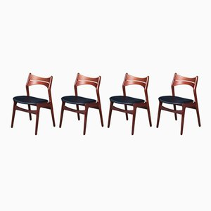 Mid-Century Danish Model 310 Dining Chairs by Erik Buch for Christian Christensen, 1960s, Set of 4