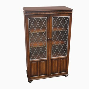 Oak and Lead Glass Cabinet, 1960s