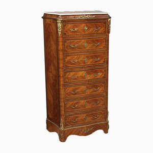 French Inlaid Walnut, Mahogany, Maple, and Fruitwood Secretaire, 1950s