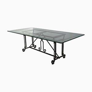Mesa de comedor o escritorio de cristal claro e hierro forjado de Cupioli