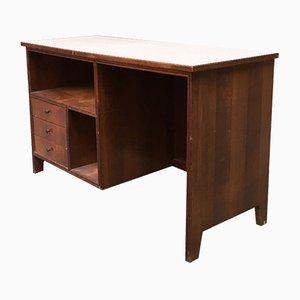 Italienischer Schreibtisch aus Nussholz, Resopal & Messing, 1960er