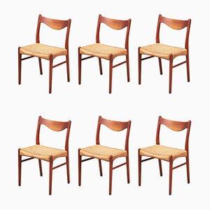 Esszimmerstühle aus Teak von Arne Wahl Iversen für Glyngøre Stolefabrik, 1960er, 6er Set