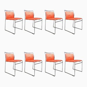 Italian Iron and Velvet Model Tulu Dining Chairs by Kazuhide Takahama for Gavina, 1968, Set of 8