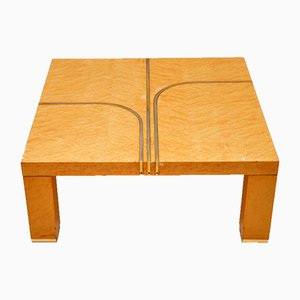 Vintage Italian Maple and Brass Coffee Table from Zevi, 1970s