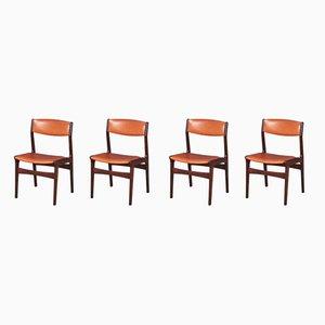 Dänische Esszimmerstühle aus Palisander & Leder von NOVA, 1960er, 4er Set