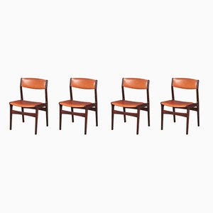 Danish Rosewood and Leather Dining Chairs from NOVA, 1960s, Set of 4