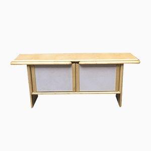 Italienisches Sideboard aus Pergament & weißem Kunstleder, 1980er