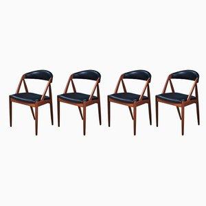 Chaises de Salle à Manger en Teck et en Cuir par Kai Kristiansen pour Schou Andersen, Danemark, années 50, Set de 4
