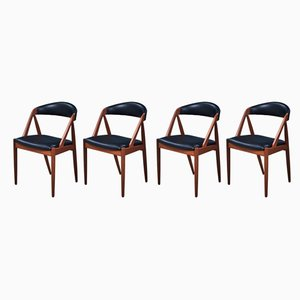 Danish Teak and Leather Dining Chairs by Kai Kristiansen for Schou Andersen, 1950s, Set of 4