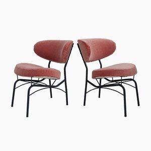 Beistellstühle mit Metallgestell & pinkem Samtbezug, 1950er, 2er Set