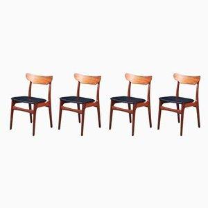 Dänische Mid-Century Esszimmerstühle aus Teak von Schiønning & Elgaard für Randers Møbelfabrik, 4er Set