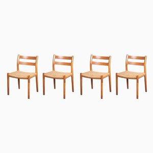 Dänische Esszimmerstühle aus Eiche & Papierkordelgeflecht von Niels Otto Møller für J.L. Møllers, 1970er, 4er Set