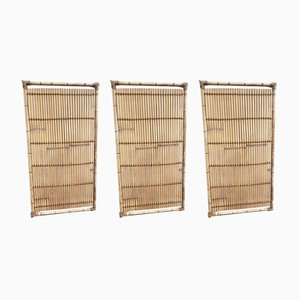 Large Bamboo and Rope Panels, 1970s, Set of 3