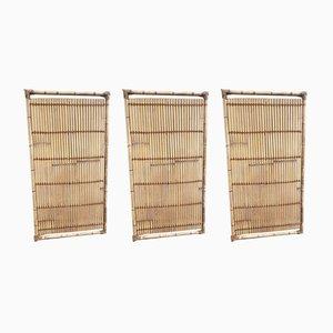 Paneles grandes de bambú y cuerda, años 70. Juego de 3