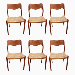 Mid-Century Teak Model 71 Dining Chairs by Niels Otto Møller for J.L. Møllers, Set of 6