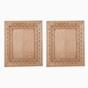 Antique Bleached and Carved Oak Panels, Set of 2