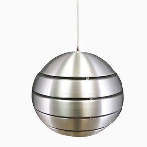 Vintage Danish Silver Metal Round Ceiling Lamp