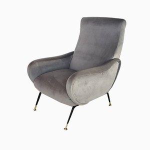 Italian Gray Velvet Armchair, 1950s